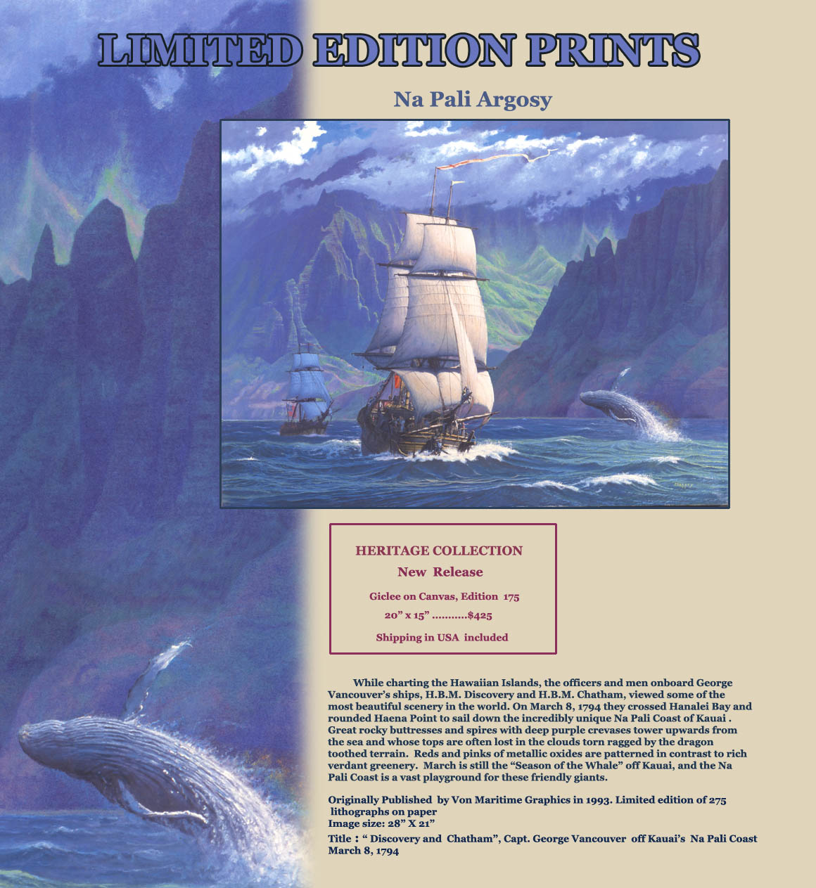 Vancouver's Discovery and Chatham sail down the Na Pali coast in 1794