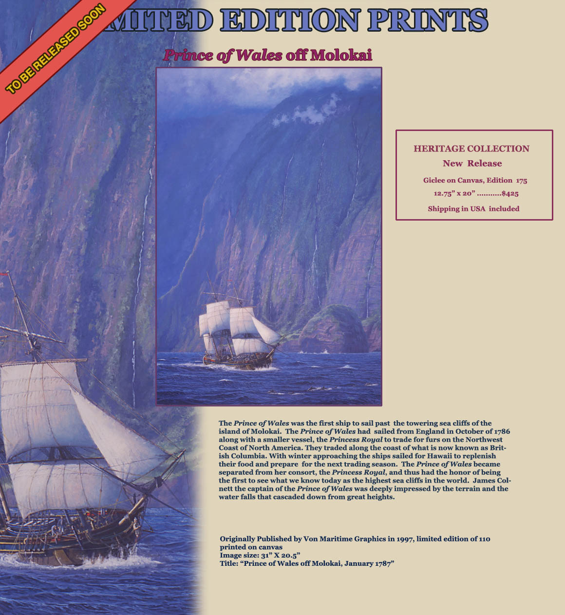 Ship Prince of Wales explores the lofty sea cliff coast of Molokai in 1787