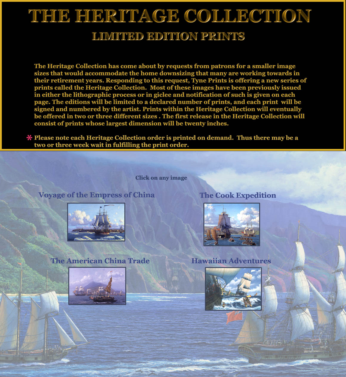 The Heritage Print Collection menu