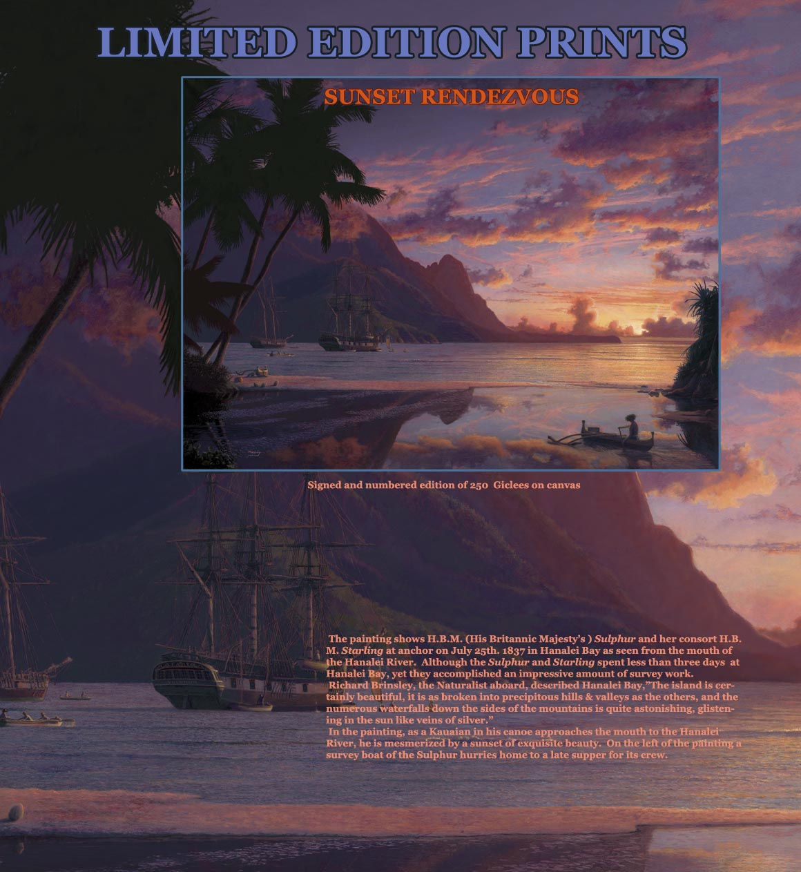 Sunset Hanalei Bay and ships 1837